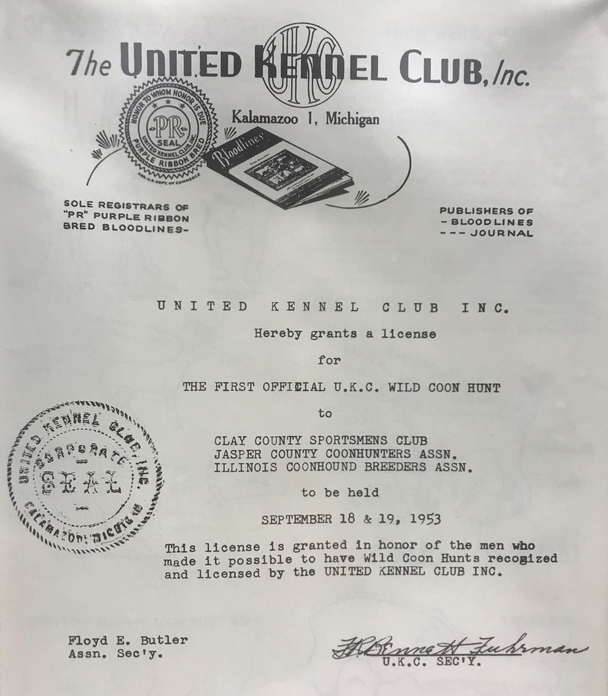 Historical event license 1954
