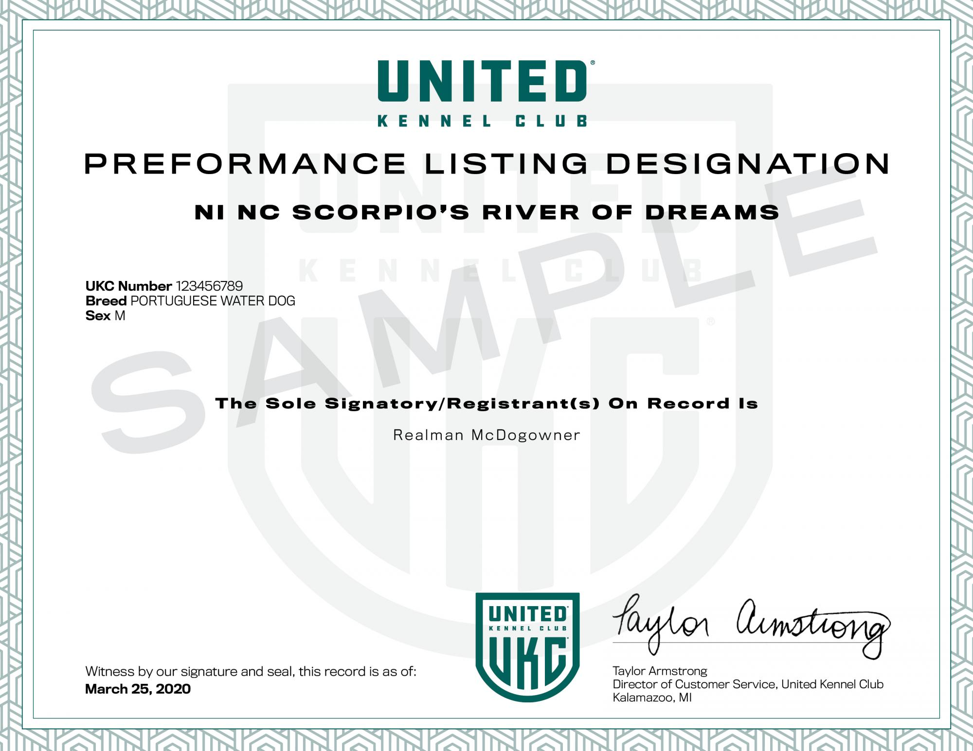 Performance Listing Cert sample