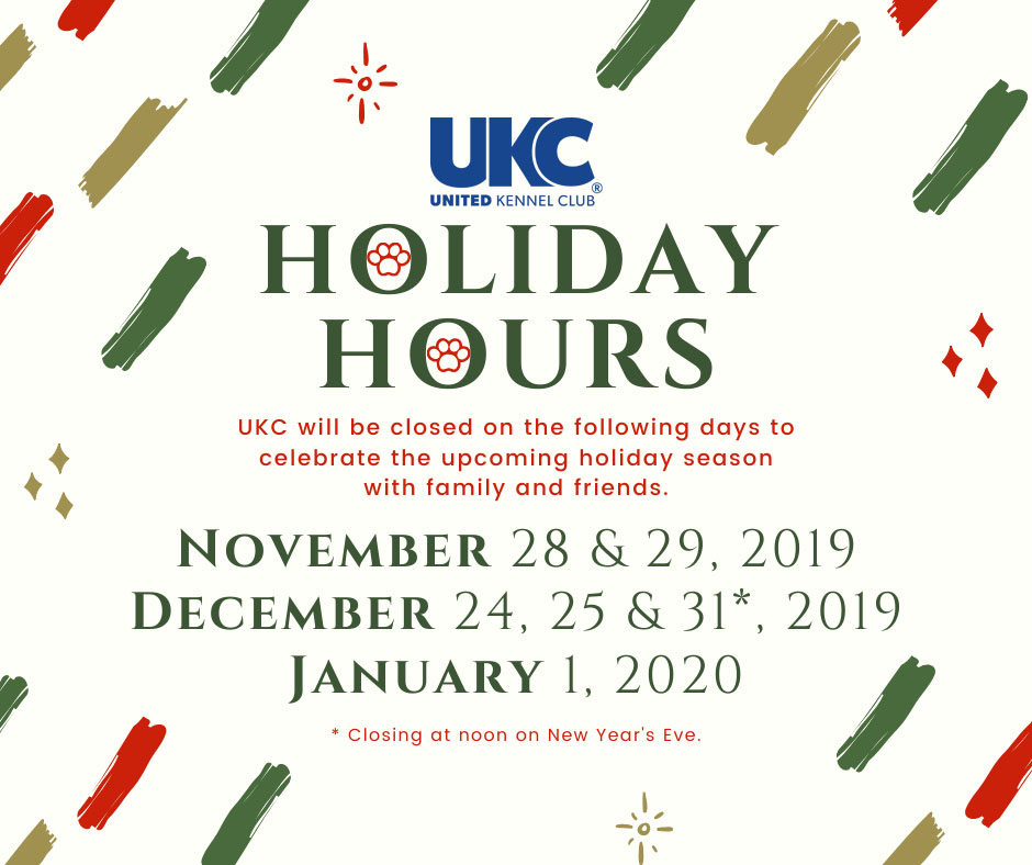 UKC Holiday Hours 2019